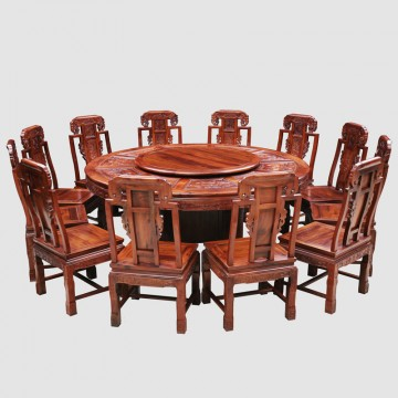 Classical Chinese African acid branch non acid 1.8 meters round table thirteen pieces